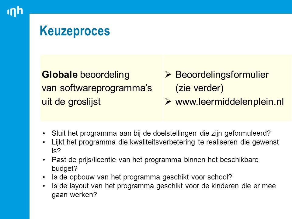 Keuzeproces Globale beoordeling van softwareprogramma's uit de groslijst  Beoordelingsformulier (zie verder)  www.leermiddelenplein.nl Sluit het programma aan bij de doelstellingen die zijn geformuleerd.