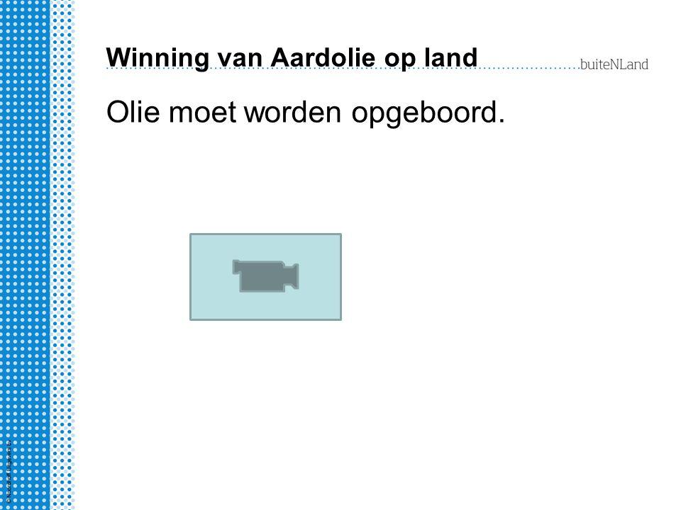 Winning van Aardolie op land Olie moet worden opgeboord.