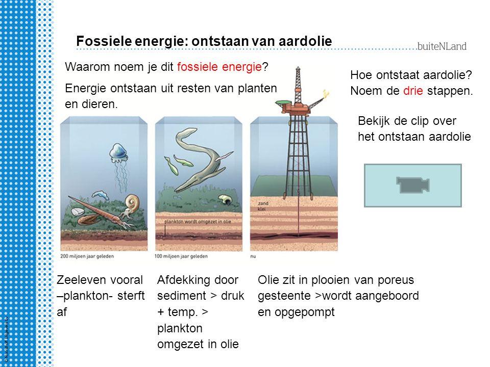 Fossiele energie: ontstaan van aardolie Waarom noem je dit fossiele energie? Energie ontstaan uit resten van planten en dieren. Hoe ontstaat aardolie?