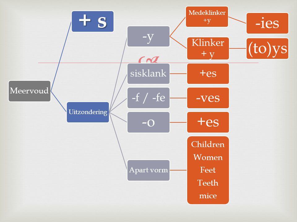  Meervoud + s Uitzondering -y Medeklinker +y -ies Klinker + y (to)ys sisklank +es-f / -fe -ves -o+es Apart vorm Children Women Feet Teeth mice