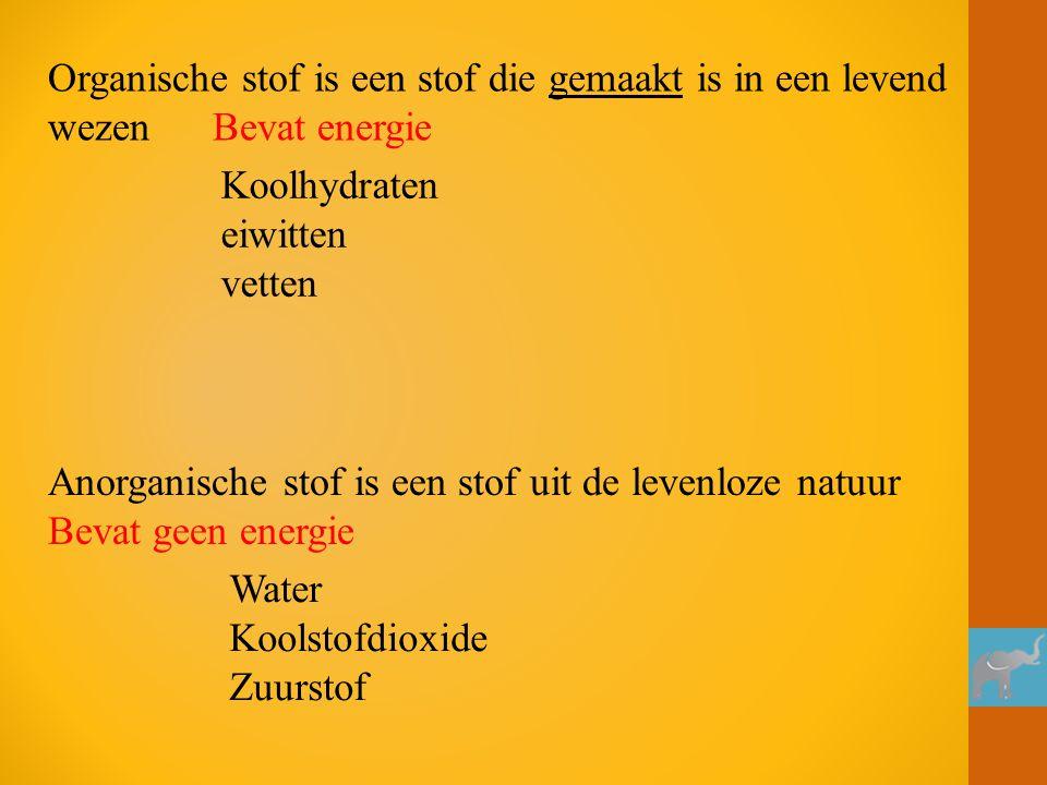 Organische stof is een stof die gemaakt is in een levend wezen Bevat energie Koolhydraten eiwitten vetten Anorganische stof is een stof uit de levenlo