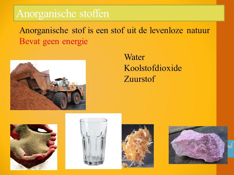 Anorganische stoffen Anorganische stof is een stof uit de levenloze natuur Bevat geen energie Water Koolstofdioxide Zuurstof