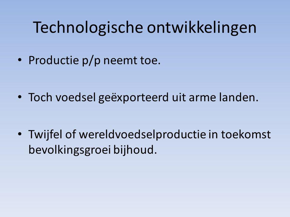 Technologische ontwikkelingen Productie p/p neemt toe.