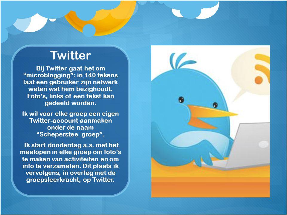 Twitter Bij Twitter gaat het om microblogging : in 140 tekens laat een gebruiker zijn netwerk weten wat hem bezighoudt.