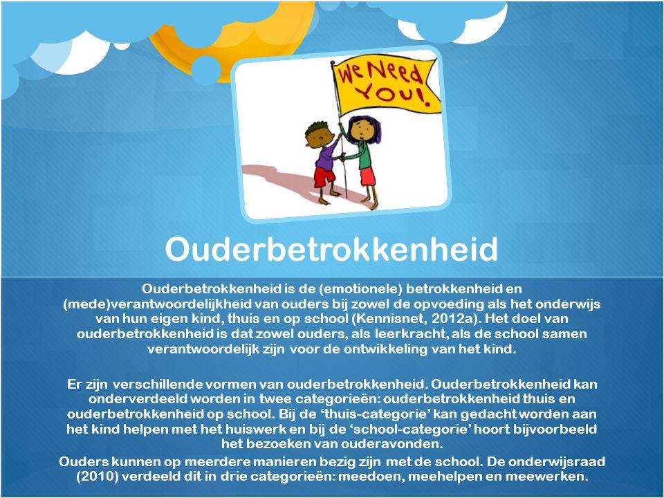 Ouderbetrokkenheid is de (emotionele) betrokkenheid en (mede)verantwoordelijkheid van ouders bij zowel de opvoeding als het onderwijs van hun eigen kind, thuis en op school (Kennisnet, 2012a).