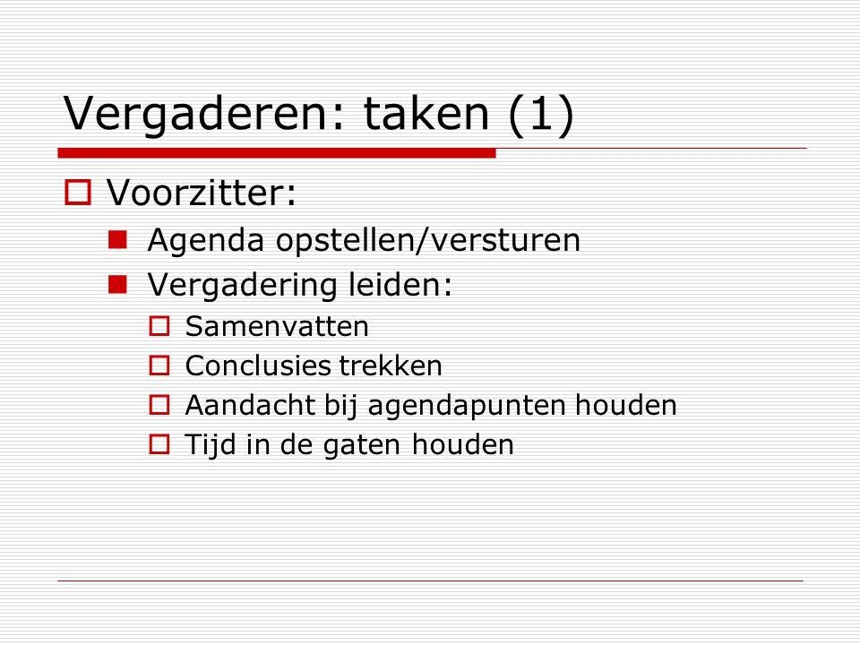Vergaderen: taken (1)  Voorzitter: Agenda opstellen/versturen Vergadering leiden:  Samenvatten  Conclusies trekken  Aandacht bij agendapunten houd