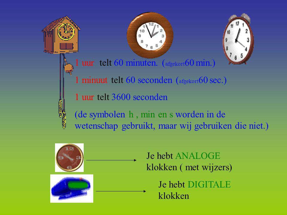 1 uur telt 60 minuten. ( afgekort 60 min.) 1 minuut telt 60 seconden ( afgekort 60 sec.) 1 uur telt 3600 seconden (de symbolen h, min en s worden in d