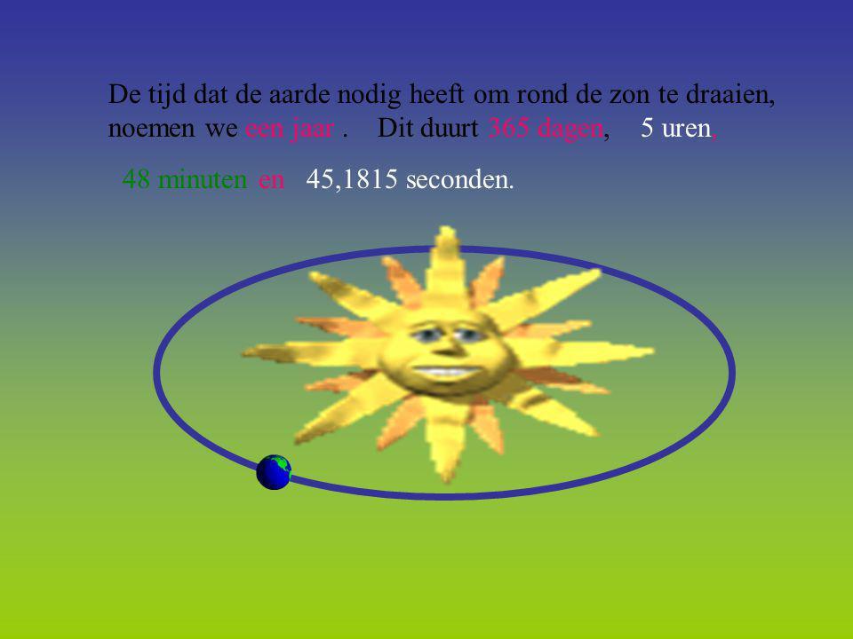 De tijd dat de aarde nodig heeft om rond de zon te draaien, noemen we een jaar. Dit duurt 365 dagen, 5 uren, 48 minuten en 45,1815 seconden.