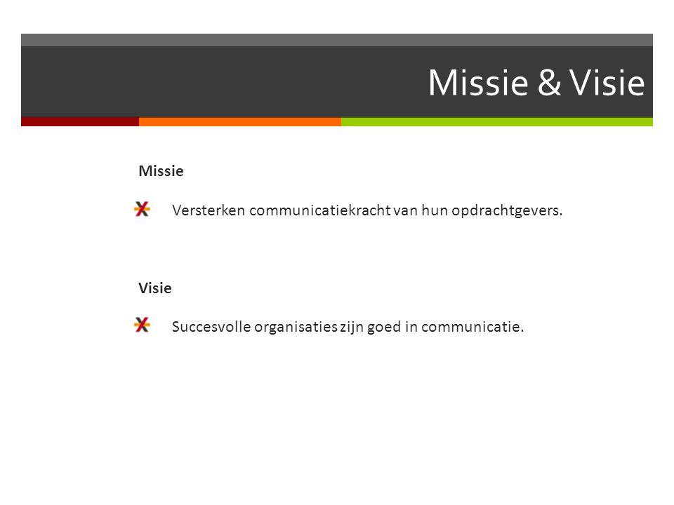 Missie & Visie Missie  Versterken communicatiekracht van hun opdrachtgevers. Visie  Succesvolle organisaties zijn goed in communicatie.