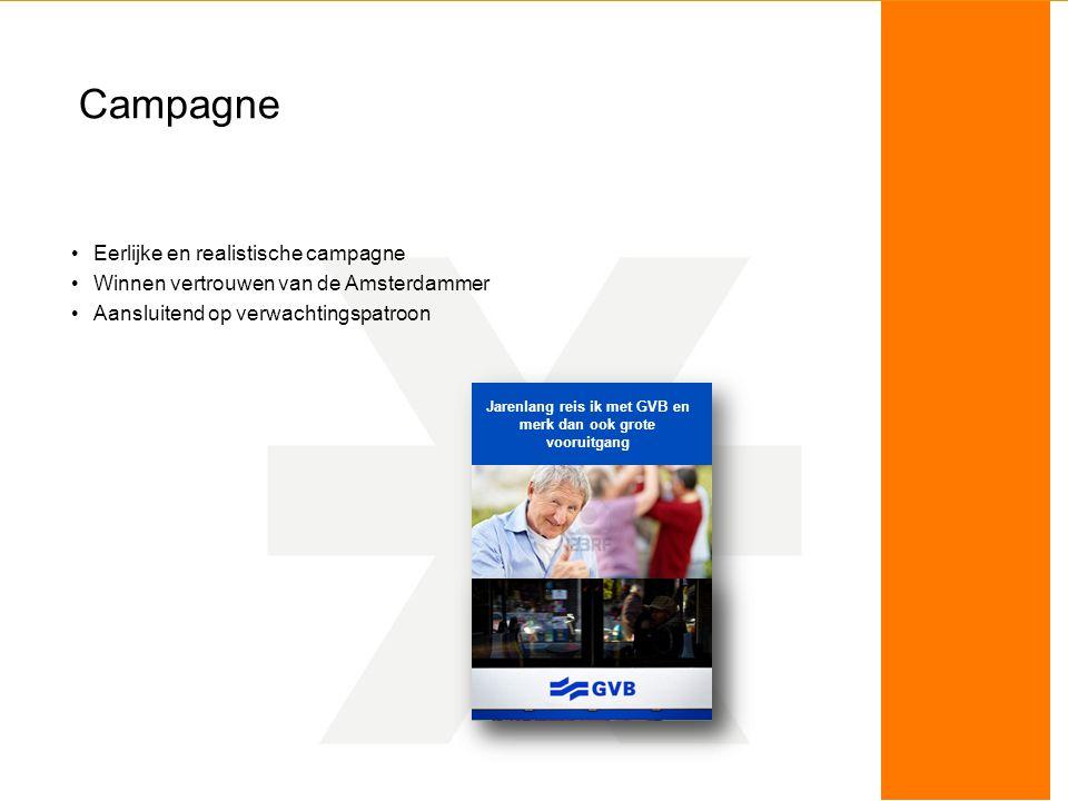 Campagne Eerlijke en realistische campagne Winnen vertrouwen van de Amsterdammer Aansluitend op verwachtingspatroon Jarenlang reis ik met GVB en merk dan ook grote vooruitgang