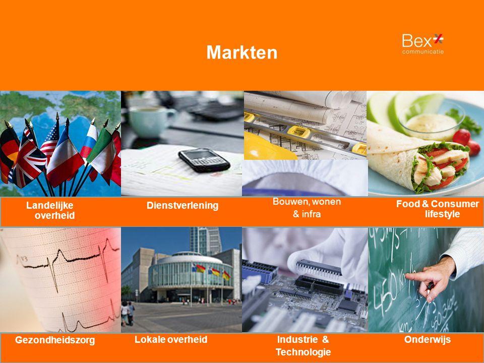 Dienstverlening Food & Consumer lifestyle Bouwen, wonen & infra Industrie & Technologie Landelijke overheid OnderwijsLokale overheid Gezondheidszorg Markten
