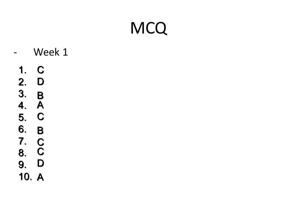 MCQ -Week 1 C D B A C B C C D A 1.2.3.4.5.6.7.8.9.10.