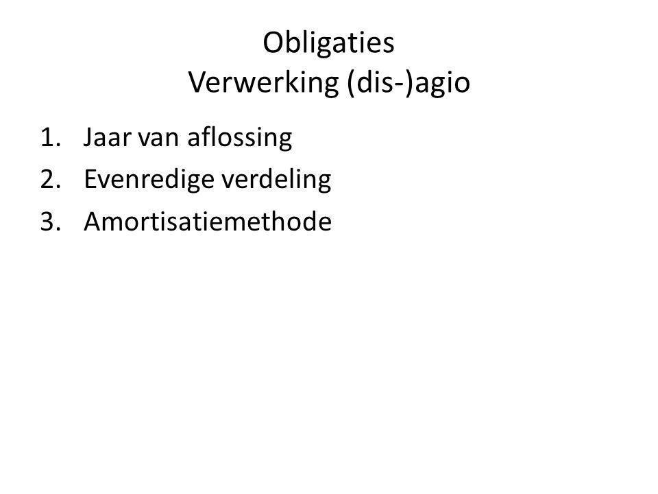 Obligaties Verwerking (dis-)agio 1.Jaar van aflossing 2.Evenredige verdeling 3.Amortisatiemethode