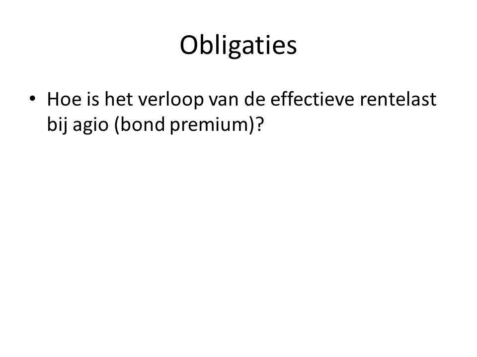 Obligaties Bij agio aflopende effectieve rentelast Contante waarde van de resterende rente en aflossingsverplichtingen gaat naar beneden.