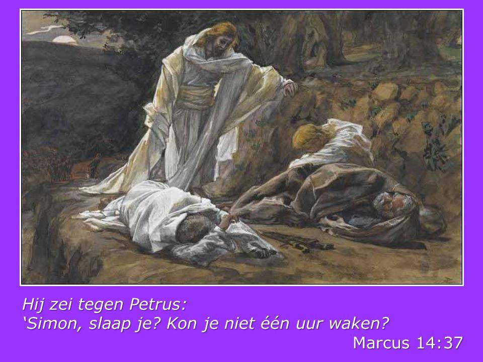 Hij zei tegen Petrus: 'Simon, slaap je? Kon je niet één uur waken? Marcus 14:37 Marcus 14:37