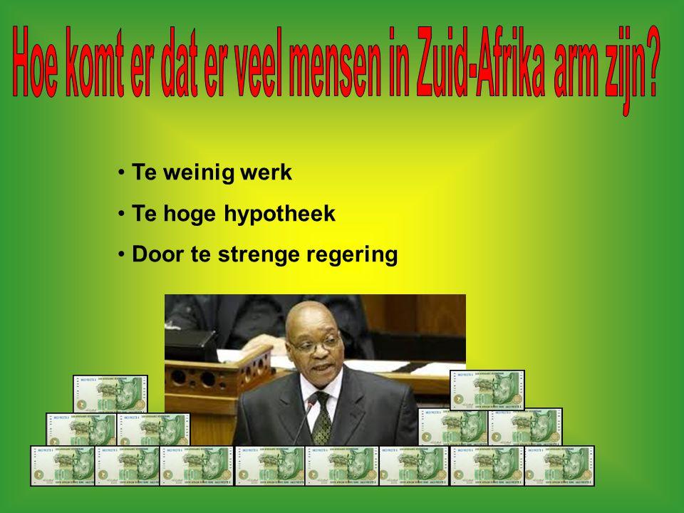 Mensen in de sloppen/krottenwijk (township) de regering Vaak zwarte mensen (apartheid) handelaren bazen blanke mensen