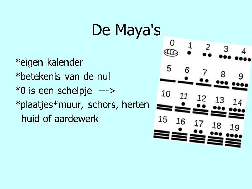 De Maya's *eigen kalender *betekenis van de nul *0 is een schelpje ---> *plaatjes*muur, schors, herten huid of aardewerk huid of aardewerk