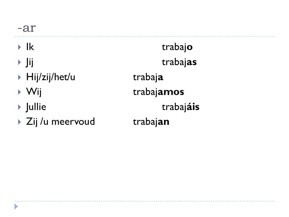 Voorbeelden werkwoorden op -ar  Estudiar: studeren  Escuchar: luisteren  Trabajar: werken  Hablar: spreken  Cantar: zingen  Oefening woorden op –ar (werkblad)