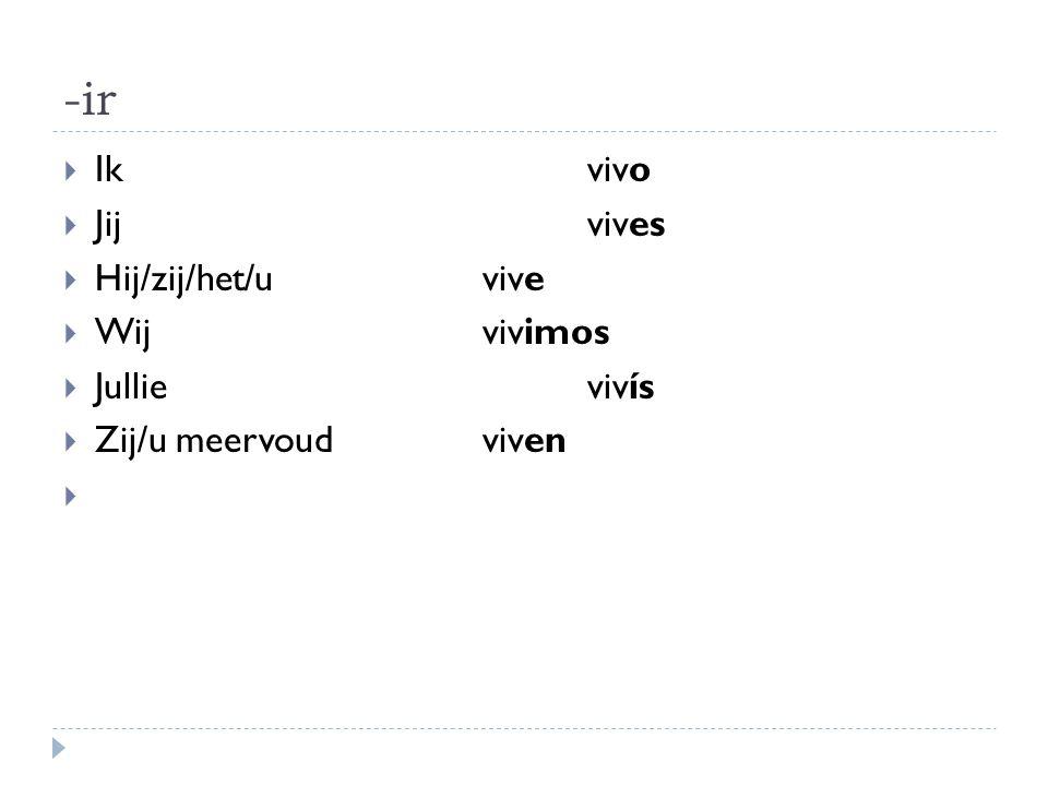 Voorbeelden werkwoorden op -ir  Abrir: openen  Prohibir: verbieden  Escribir: schrijven  Decidir: beslissen  Recibir: ontvangen  Oefening werkwoorden op –ir (werkblad)