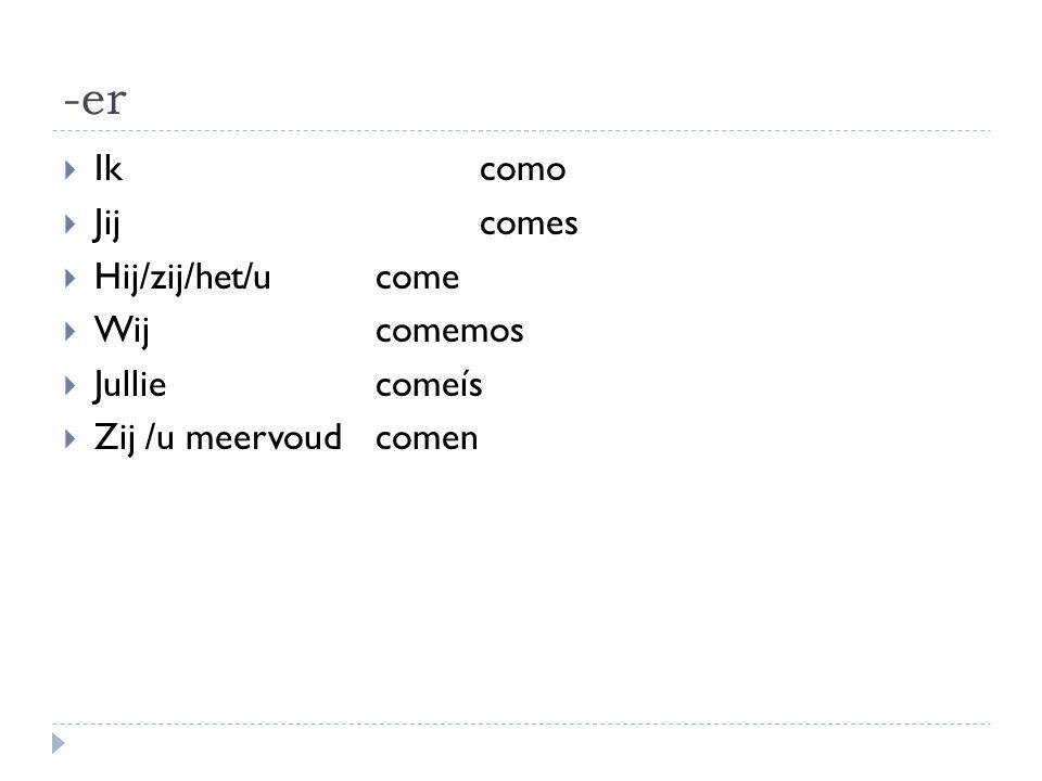 Voorbeelden werkwoorden op -er  Aprender (leren)  Vender (kopen)  Oefening werkwoorden werkblad