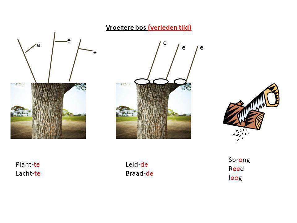Vroegere bos (verleden tijd) e e e e ee Plant-te Lacht-te Leid-de Braad-de Sprong Reed loog
