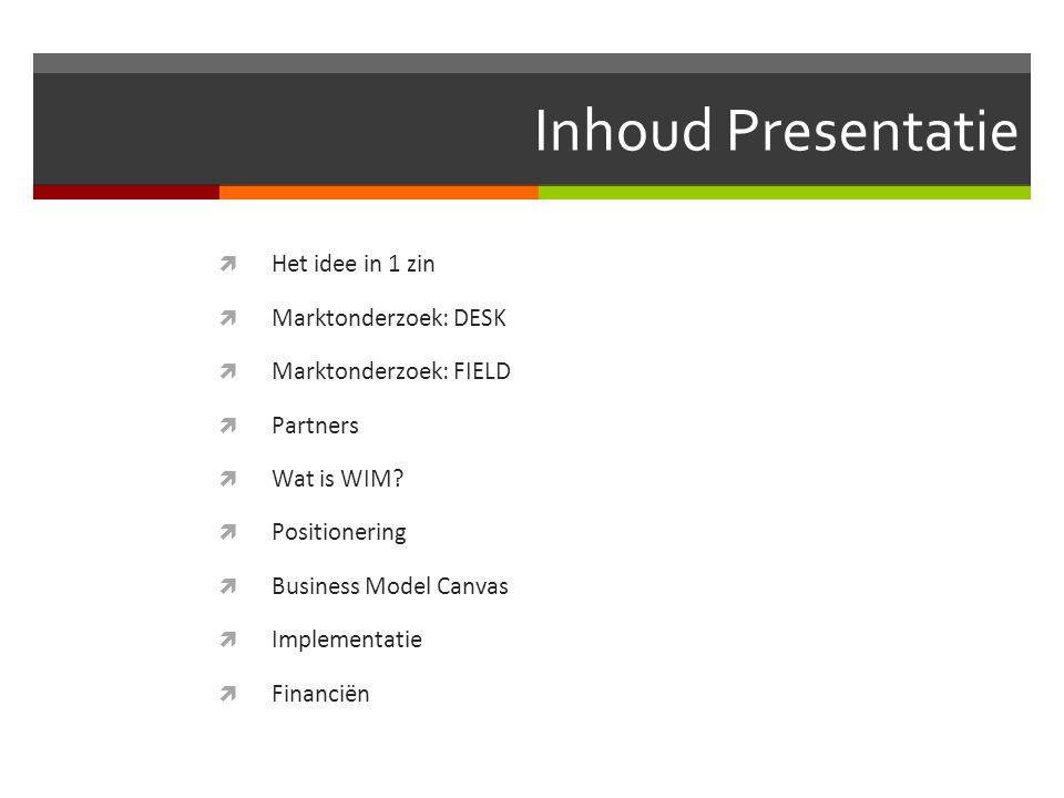 Inhoud Presentatie  Het idee in 1 zin  Marktonderzoek: DESK  Marktonderzoek: FIELD  Partners  Wat is WIM?  Positionering  Business Model Canvas