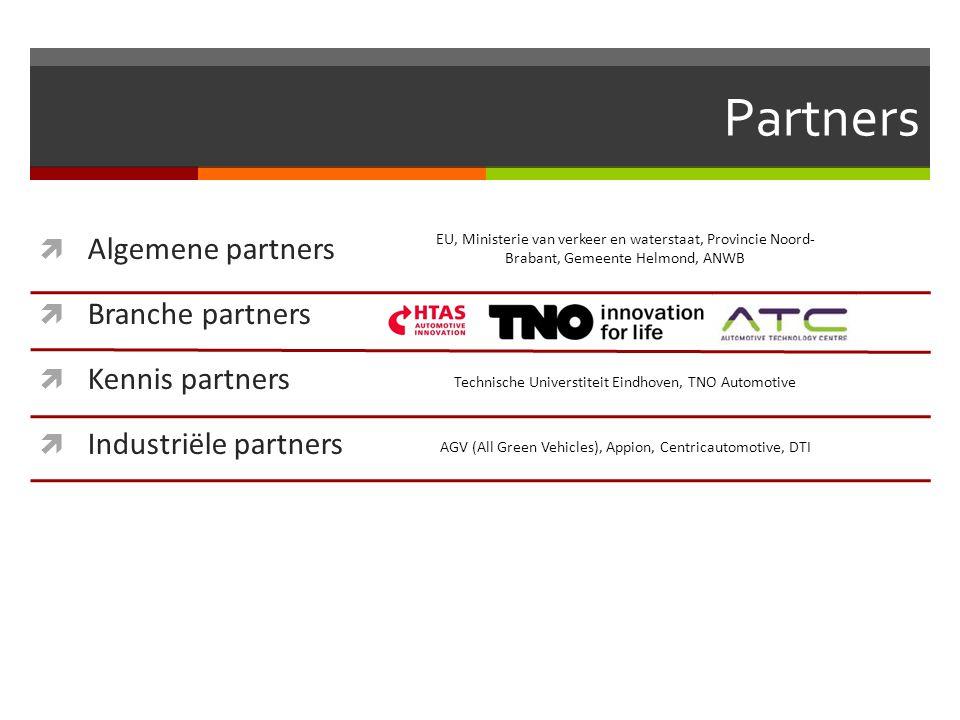 Partners  Algemene partners  Branche partners  Kennis partners  Industriële partners EU, Ministerie van verkeer en waterstaat, Provincie Noord- Br