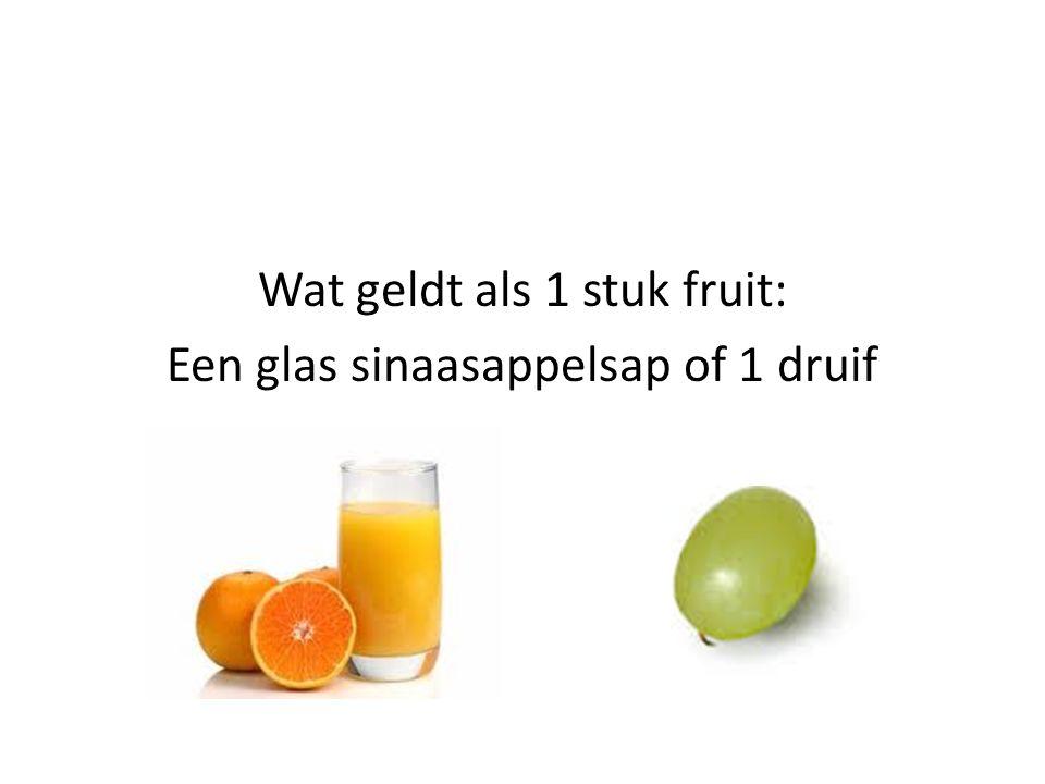 Wat geldt als 1 stuk fruit: Een glas sinaasappelsap of 1 druif
