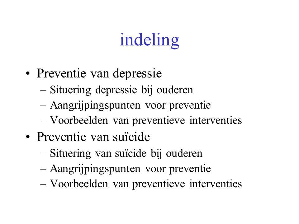 indeling Preventie van depressie –Situering depressie bij ouderen –Aangrijpingspunten voor preventie –Voorbeelden van preventieve interventies Prevent