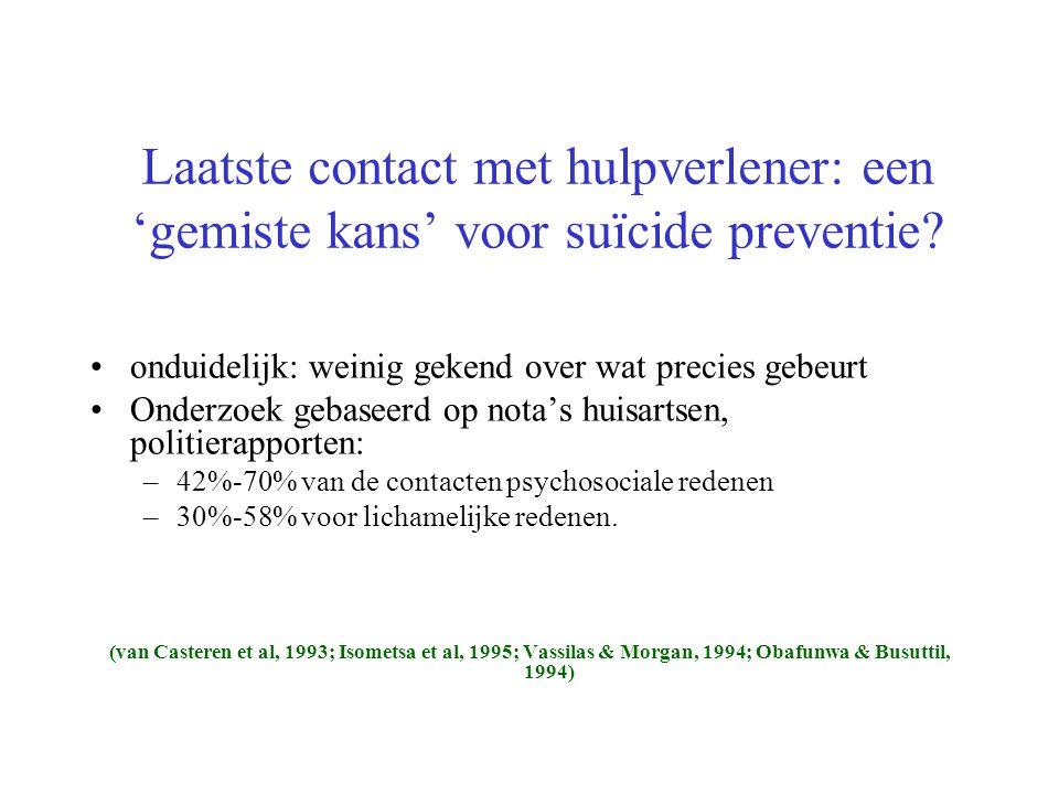 Laatste contact met hulpverlener: een 'gemiste kans' voor suïcide preventie? onduidelijk: weinig gekend over wat precies gebeurt Onderzoek gebaseerd o