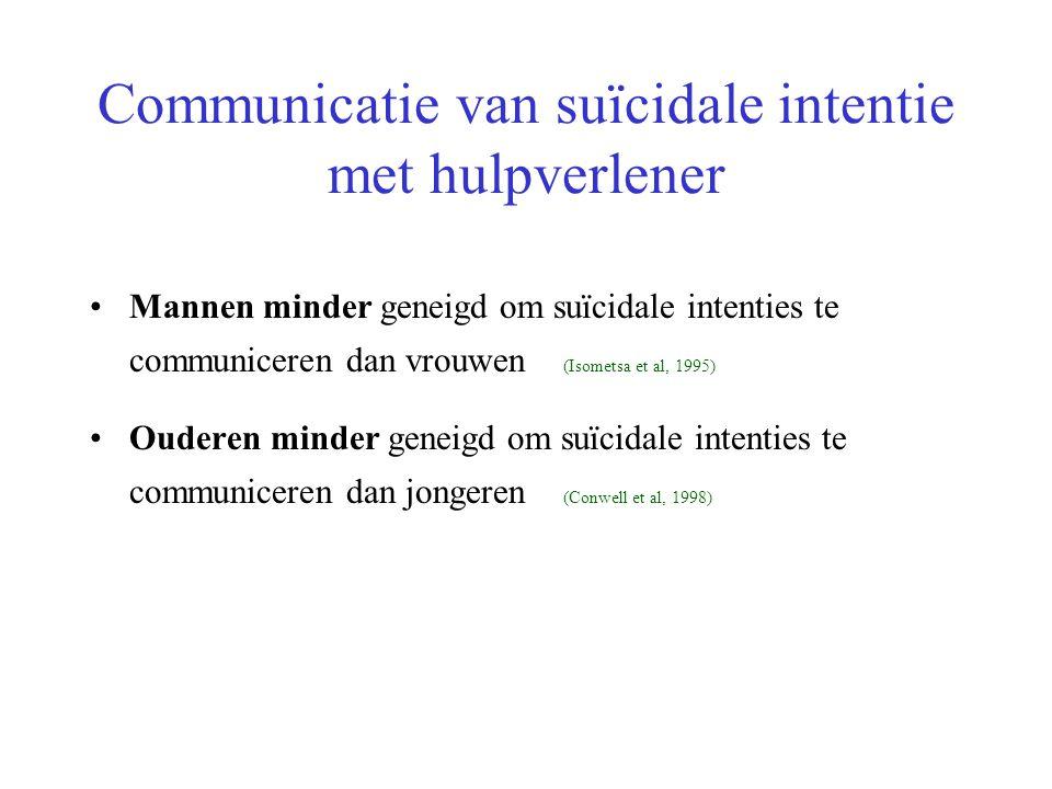 Communicatie van suïcidale intentie met hulpverlener Mannen minder geneigd om suïcidale intenties te communiceren dan vrouwen (Isometsa et al, 1995) O