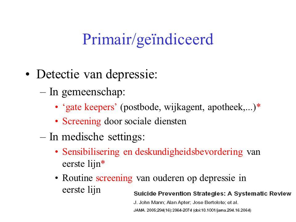 Primair/geïndiceerd Detectie van depressie: –In gemeenschap: 'gate keepers' (postbode, wijkagent, apotheek,...)* Screening door sociale diensten –In m