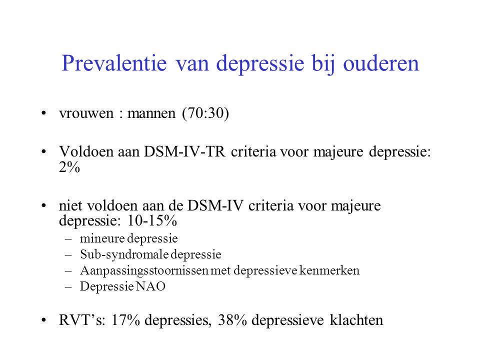 Prevalentie van depressie bij ouderen vrouwen : mannen (70:30) Voldoen aan DSM-IV-TR criteria voor majeure depressie: 2% niet voldoen aan de DSM-IV cr