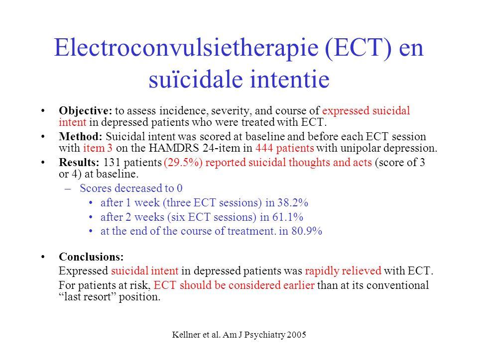 Kellner et al. Am J Psychiatry 2005 Electroconvulsietherapie (ECT) en suïcidale intentie Objective: to assess incidence, severity, and course of expre