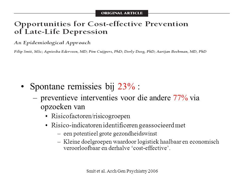 Smit et al. Arch Gen Psychiatry 2006 Spontane remissies bij 23% : –preventieve interventies voor die andere 77% via opzoeken van Risicofactoren/risico
