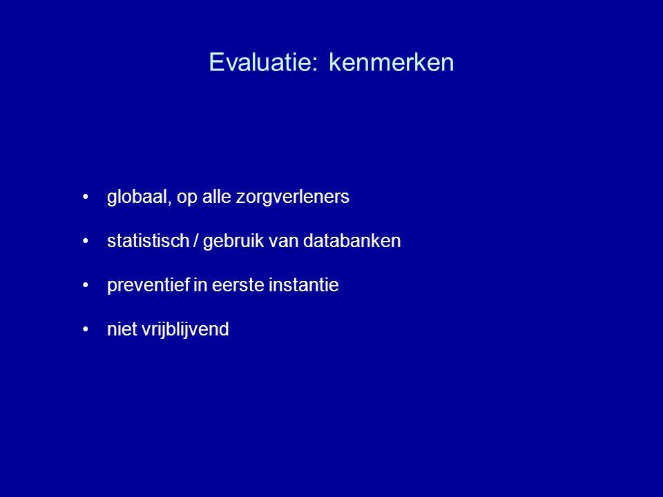 Evaluatie: kenmerken globaal, op alle zorgverleners statistisch / gebruik van databanken preventief in eerste instantie niet vrijblijvend