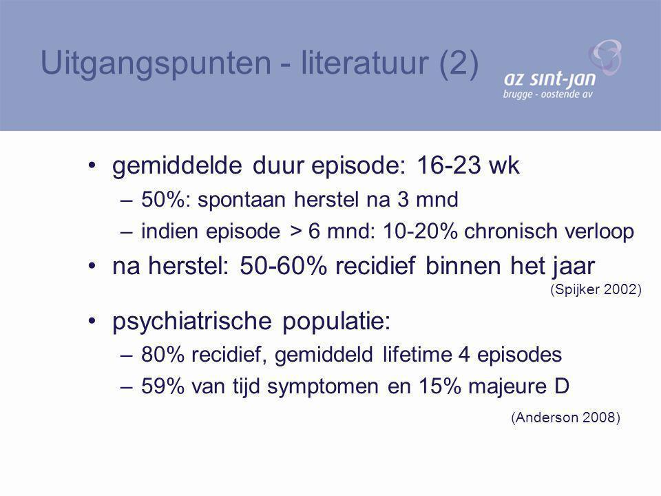 gemiddelde duur episode: 16-23 wk –50%: spontaan herstel na 3 mnd –indien episode > 6 mnd: 10-20% chronisch verloop na herstel: 50-60% recidief binnen