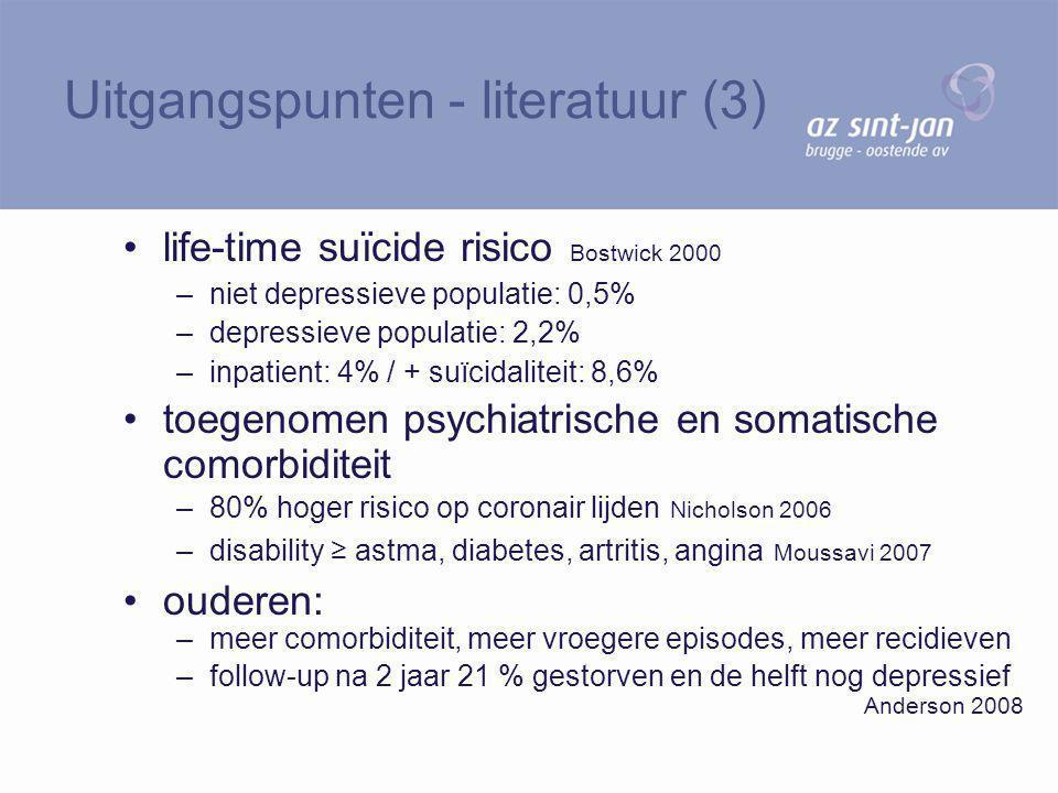 life-time suïcide risico Bostwick 2000 –niet depressieve populatie: 0,5% –depressieve populatie: 2,2% –inpatient: 4% / + suïcidaliteit: 8,6% toegenome
