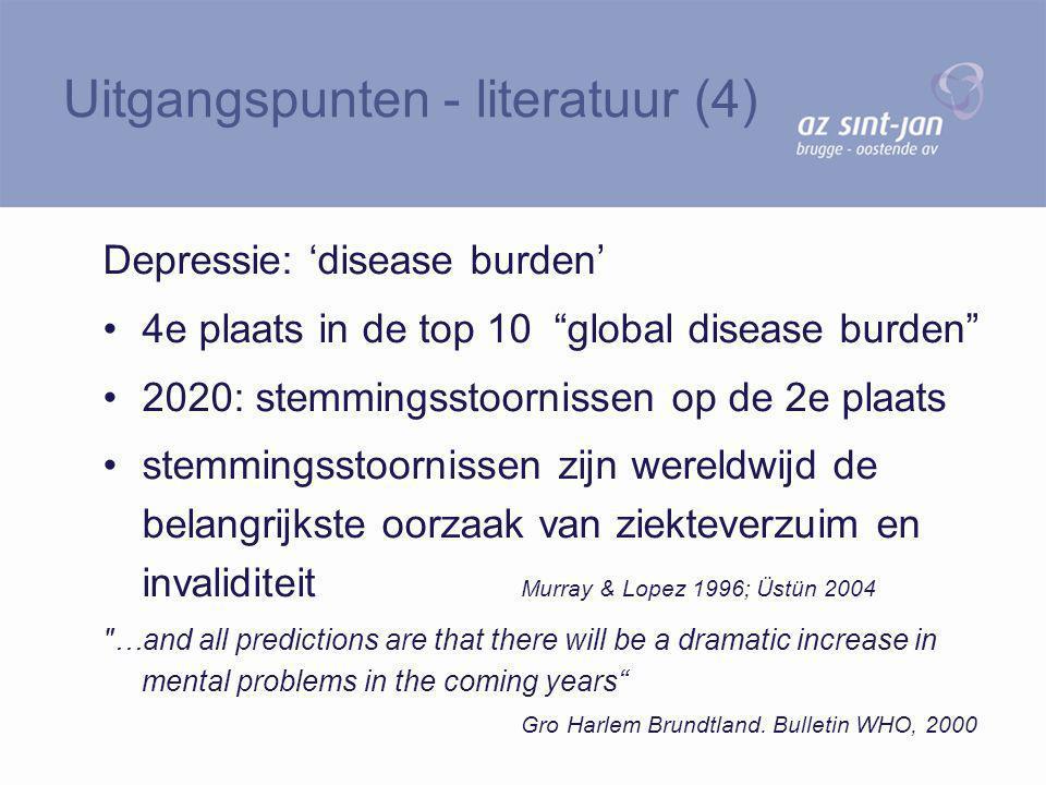 """Depressie: 'disease burden' 4e plaats in de top 10 """"global disease burden"""" 2020: stemmingsstoornissen op de 2e plaats stemmingsstoornissen zijn wereld"""