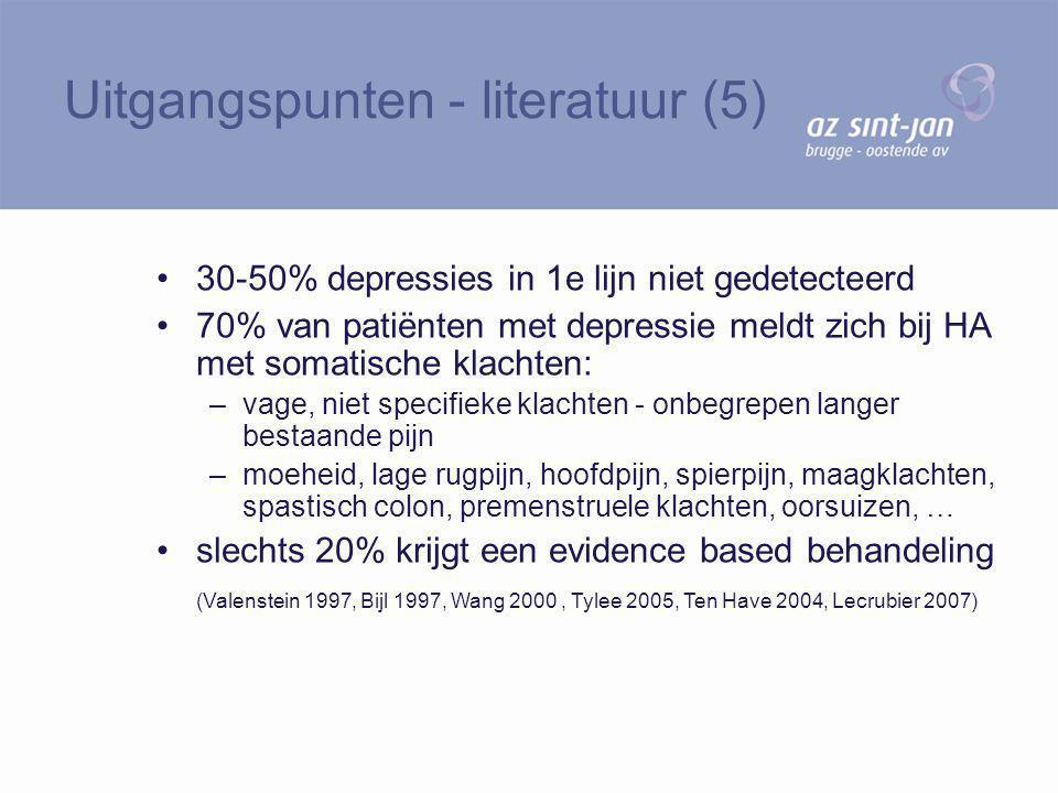 30-50% depressies in 1e lijn niet gedetecteerd 70% van patiënten met depressie meldt zich bij HA met somatische klachten: –vage, niet specifieke klach