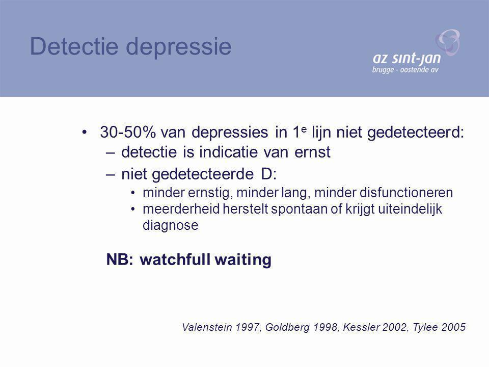 30-50% van depressies in 1 e lijn niet gedetecteerd: –detectie is indicatie van ernst –niet gedetecteerde D: minder ernstig, minder lang, minder disfu