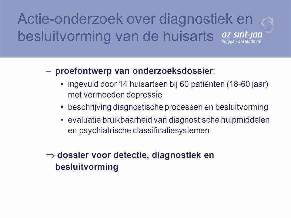 –proefontwerp van onderzoeksdossier: ingevuld door 14 huisartsen bij 60 patiënten (18-60 jaar) met vermoeden depressie beschrijving diagnostische proc