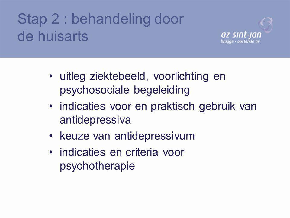 uitleg ziektebeeld, voorlichting en psychosociale begeleiding indicaties voor en praktisch gebruik van antidepressiva keuze van antidepressivum indica