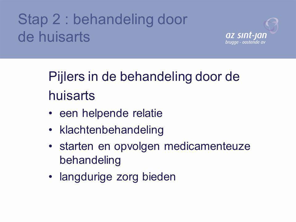 Pijlers in de behandeling door de huisarts een helpende relatie klachtenbehandeling starten en opvolgen medicamenteuze behandeling langdurige zorg bie