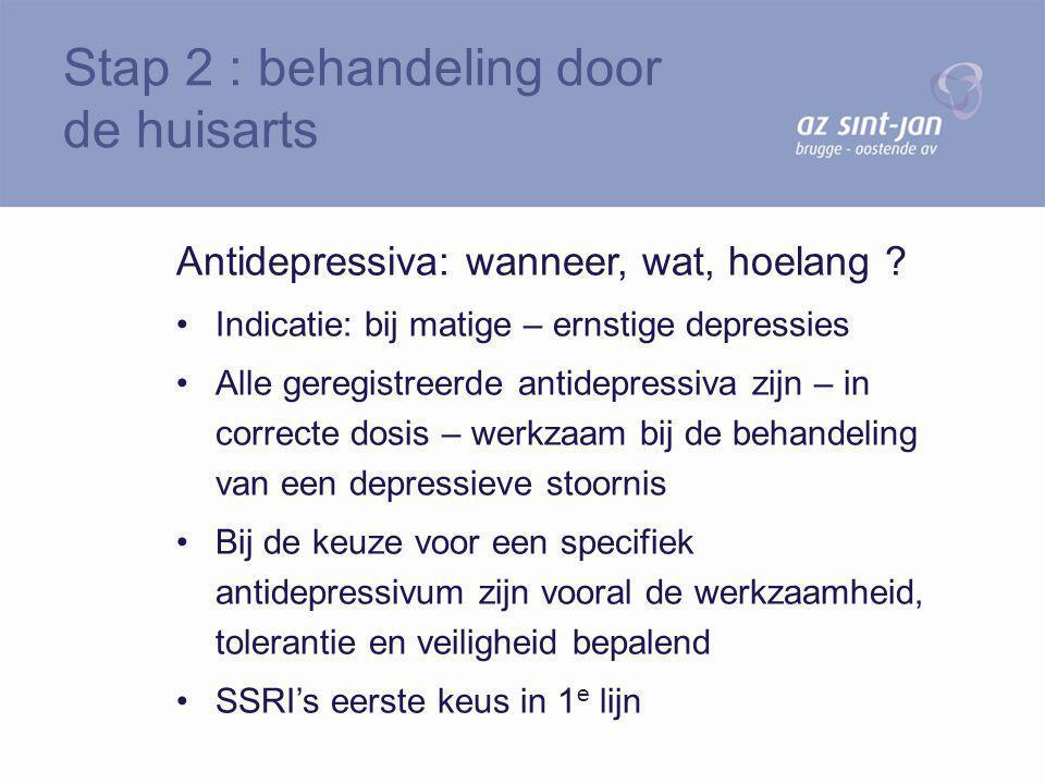 Antidepressiva: wanneer, wat, hoelang ? Indicatie: bij matige – ernstige depressies Alle geregistreerde antidepressiva zijn – in correcte dosis – werk