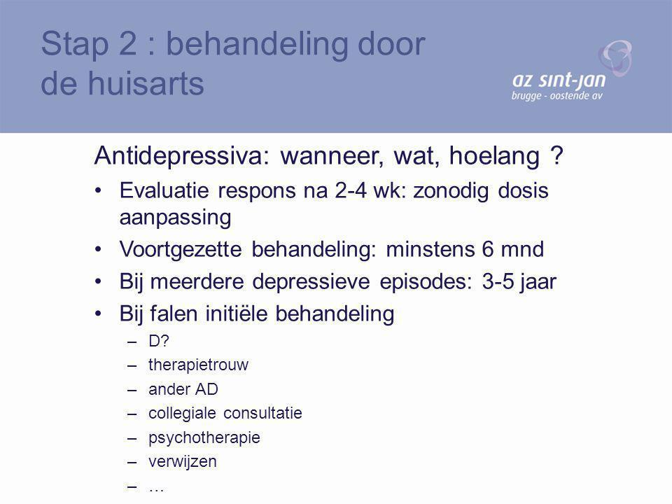 Antidepressiva: wanneer, wat, hoelang ? Evaluatie respons na 2-4 wk: zonodig dosis aanpassing Voortgezette behandeling: minstens 6 mnd Bij meerdere de