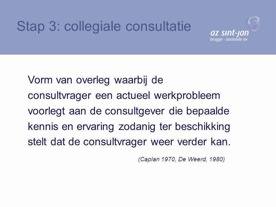 Vorm van overleg waarbij de consultvrager een actueel werkprobleem voorlegt aan de consultgever die bepaalde kennis en ervaring zodanig ter beschikkin