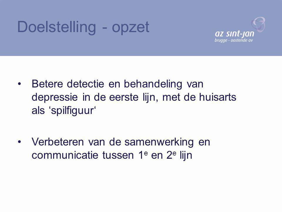 Betere detectie en behandeling van depressie in de eerste lijn, met de huisarts als 'spilfiguur' Verbeteren van de samenwerking en communicatie tussen