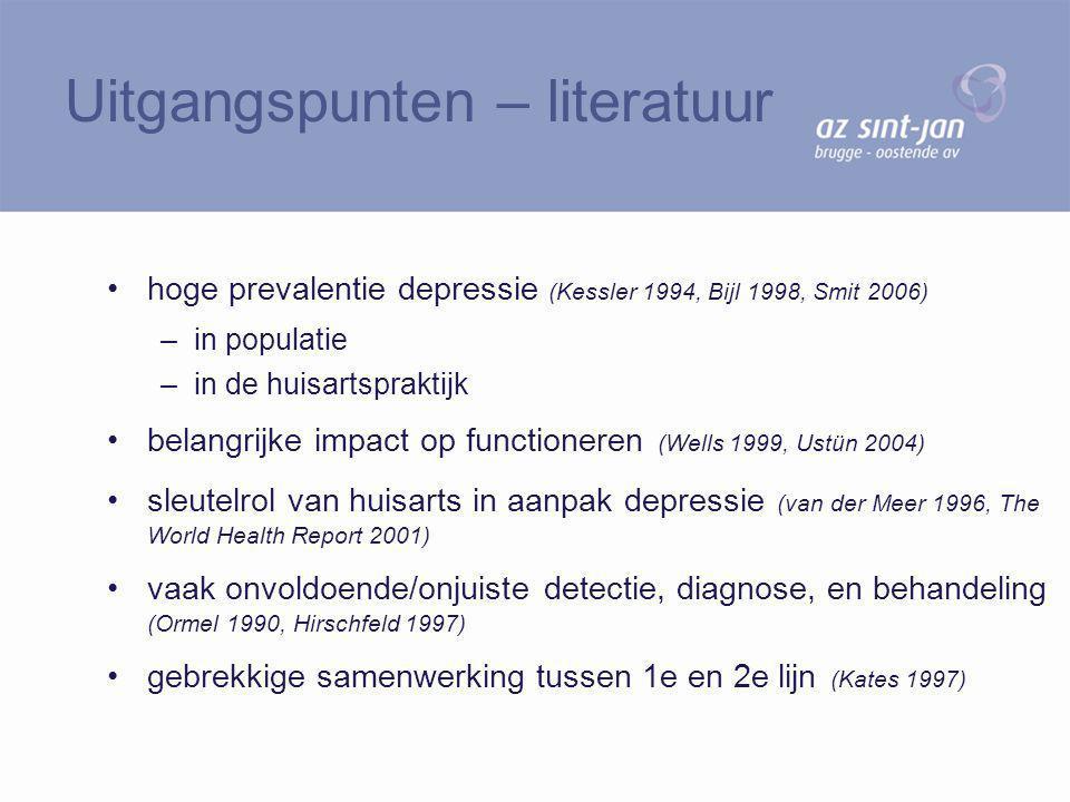 hoge prevalentie depressie (Kessler 1994, Bijl 1998, Smit 2006) –in populatie –in de huisartspraktijk belangrijke impact op functioneren (Wells 1999,