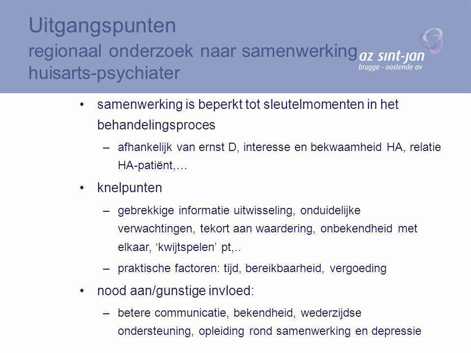 samenwerking is beperkt tot sleutelmomenten in het behandelingsproces –afhankelijk van ernst D, interesse en bekwaamheid HA, relatie HA-patiënt,… knel